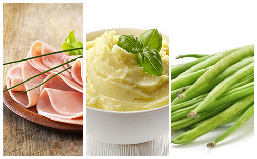 Jambon, purée et haricots verts