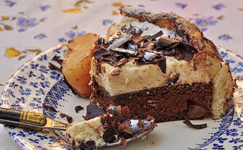 Bavarois poire chocolat sur génoise