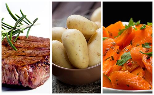 Bifteck aux carottes et pommes de terre