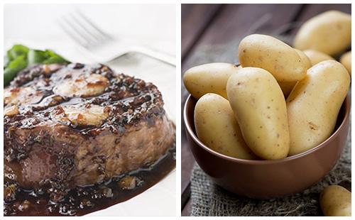 Bifteck aux échalotes et pommes de terre