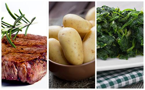 Bifteck aux épinards et pommes de terre