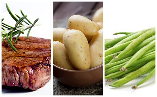 Bifteck aux haricots verts et pommes de terre