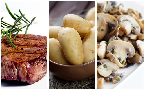Bifteck aux pommes de terre et champignons poêlés