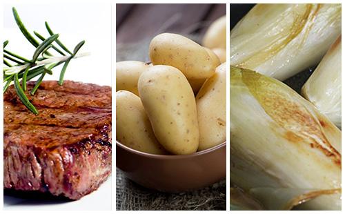 Bifteck aux pommes de terre et endives braisées
