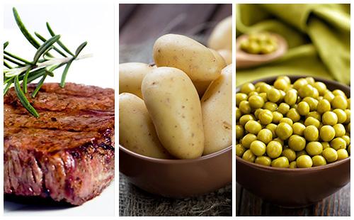 Bifteck aux pommes de terre et petits pois