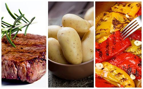 Bifteck aux pommes de terre et poivrons grillés