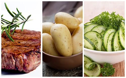 Bifteck aux pommes de terre et salade de concombre