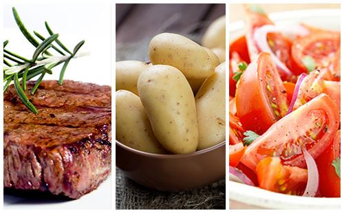 Bifteck aux pommes de terre et salade de tomates