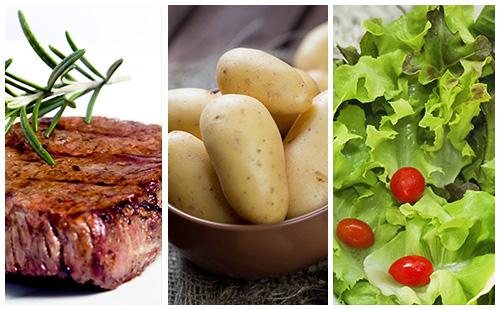 Bifteck aux pommes de terre et salade verte