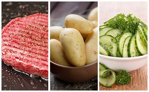 Steak haché aux pommes de terre et salade de concombre