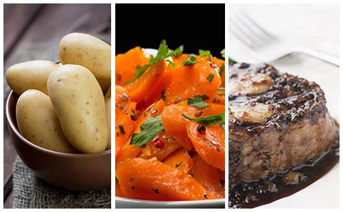 Bifteck aux échalotes, carottes et pommes de terre