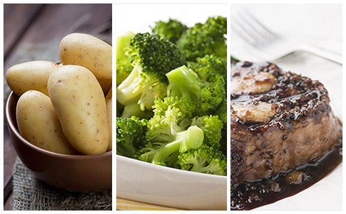Bifteck aux échalotes, pommes de terre et brocolis