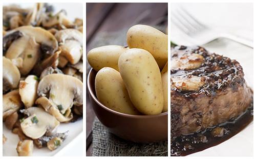 Bifteck aux échalotes, pommes de terre et champignons poêlés