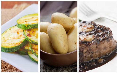 Bifteck aux échalotes, pommes de terre et courgettes sautées