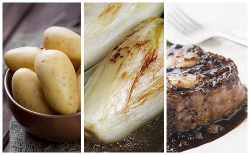 Bifteck aux échalotes, pommes de terre et endives braisées