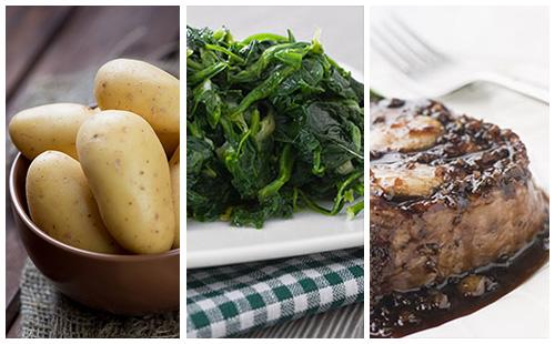 Bifteck aux échalotes, pommes de terre et épinards