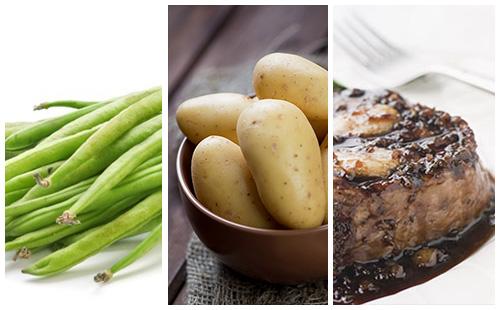 Bifteck aux échalotes, pommes de terre et haricots verts