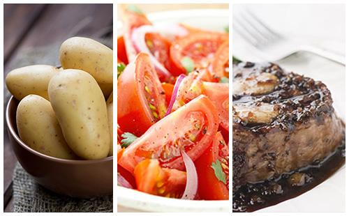 Bifteck aux échalotes, pommes de terre et salade de tomates