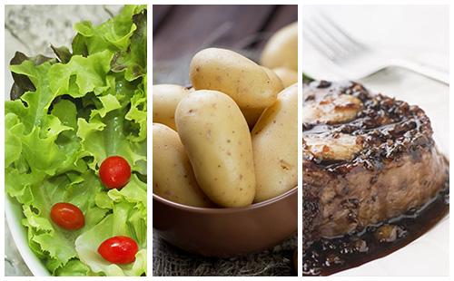 Bifteck aux échalotes, pommes de terre et salade verte