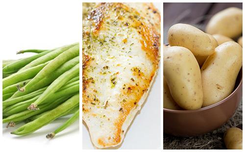 Escalope de dinde aux haricots verts et pommes de terre