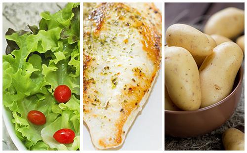 Escalope de dinde aux pommes de terre et salade verte wecook - Salade verte calorie ...