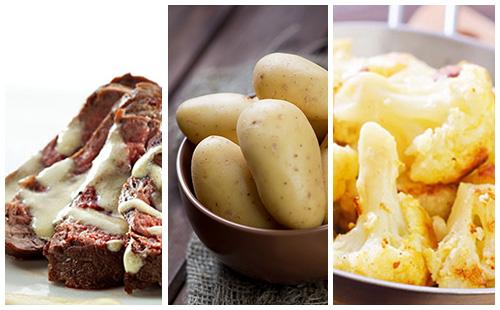 Bifteck sauce moutarde au chou-fleur et pommes de terre