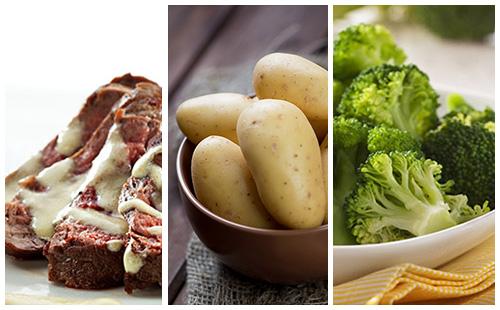 Bifteck sauce moutarde aux brocolis et pommes de terre