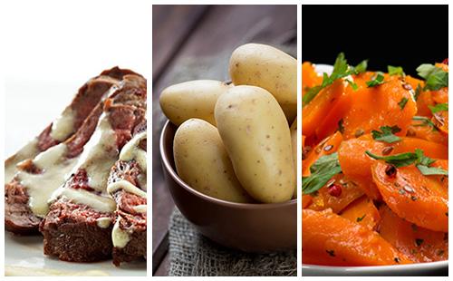 Bifteck sauce moutarde aux carottes et pommes de terre