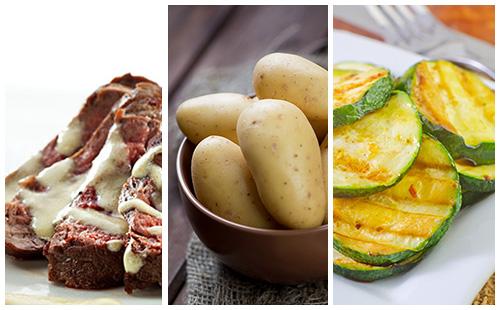 Bifteck sauce moutarde aux courgettes et pommes de terre