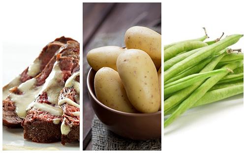 Bifteck sauce moutarde aux haricots verts et pommes de terre