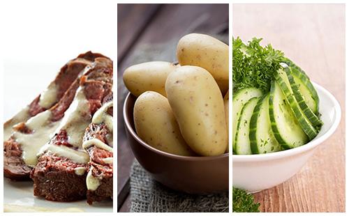 Bifteck sauce moutarde aux pommes de terre et salade de concombre
