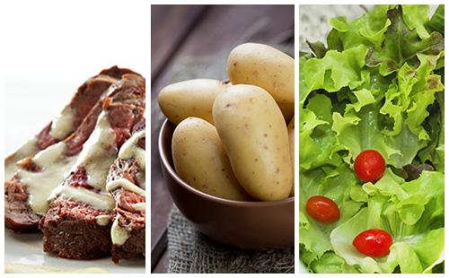 Bifteck sauce moutarde aux pommes de terre et salade verte