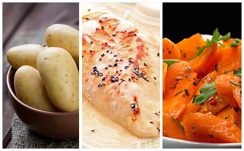 Escalope de poulet sauce paprika, carottes et pommes de terre