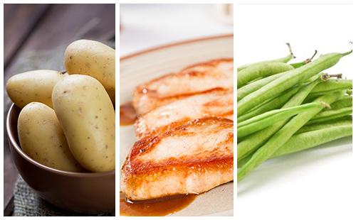 Côte de porc aux haricots verts et pommes de terre