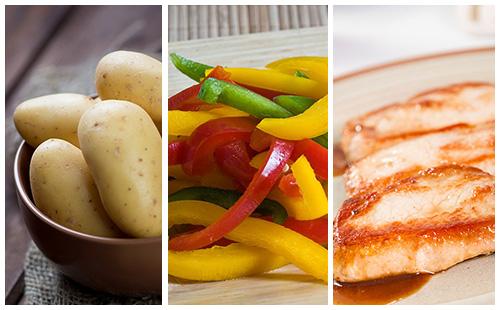 Côte de porc aux pommes de terre et poivrons grillés
