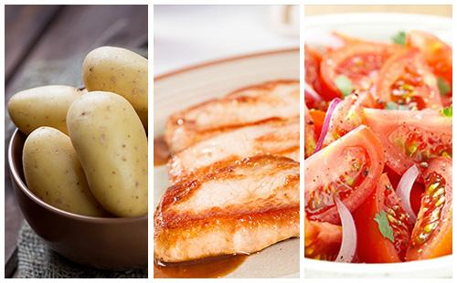 Côte de porc aux pommes de terre et salade de tomates