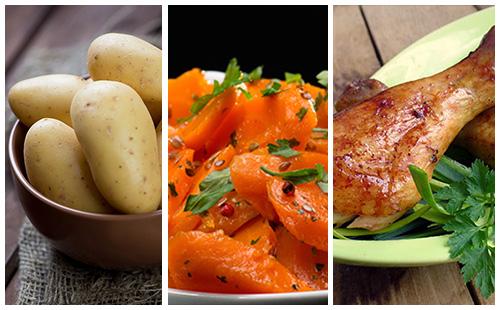 Pilons de poulet aux carottes et pommes de terre