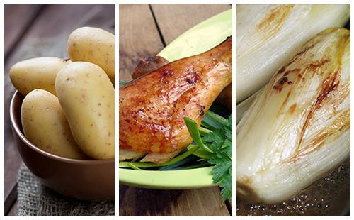 Pilons de poulet aux pommes de terre et endives braisées