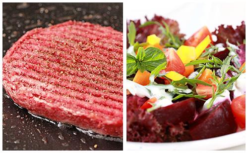 Steak haché et salade de crudités