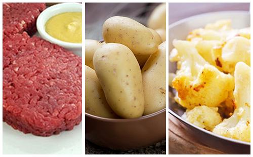 Steak haché sauce moutarde au chou-fleur et pommes de terre