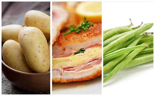 Cordon bleu aux haricots verts et pommes de terre