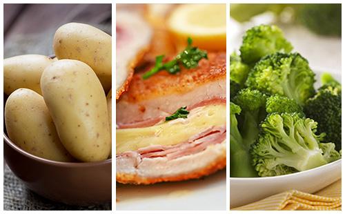 Cordon bleu aux pommes de terre et brocolis