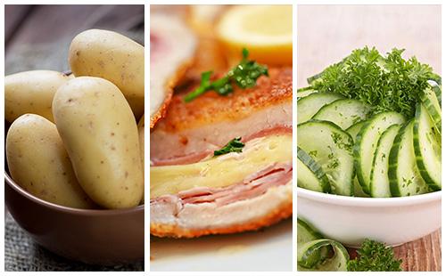Cordon bleu aux pommes de terre et salade de concombre