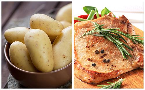 Côte de porc au romarin et pommes de terre