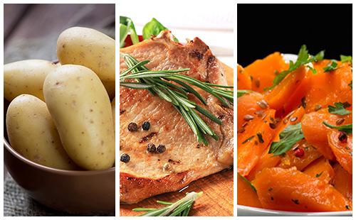 Côte de porc au romarin, carottes et pommes de terre