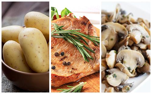 Côte de porc au romarin, champignons et pommes de terre