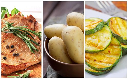 Côte de porc au romarin, courgettes et pommes de terre
