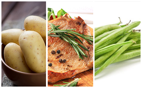 Côte de porc au romarin, haricots verts et pommes de terre