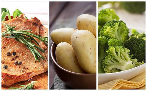 Côte de porc au romarin, pommes de terre et brocolis