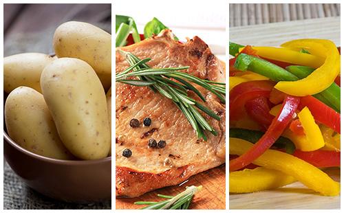 Côte de porc au romarin, pommes de terre et poivrons grillés